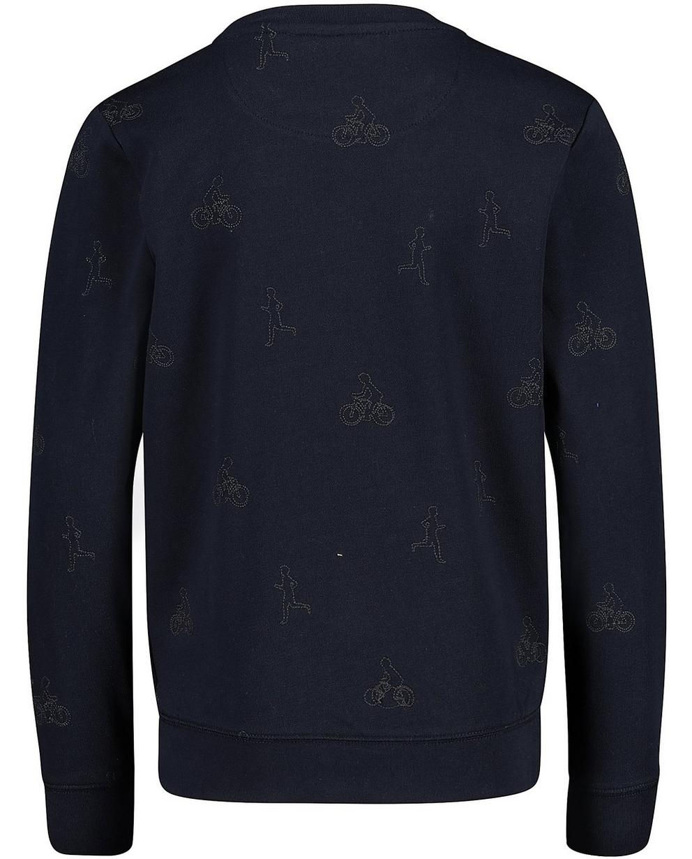 Sweater - Navy - Sweater mit gesticktem Print